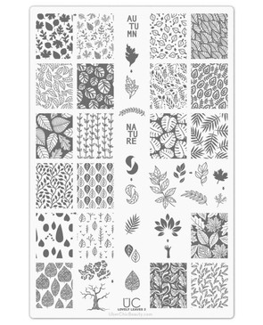 Uber Chic Lovely Leaves 02 nail stamping plate. Available at www.lanternandwren.com.