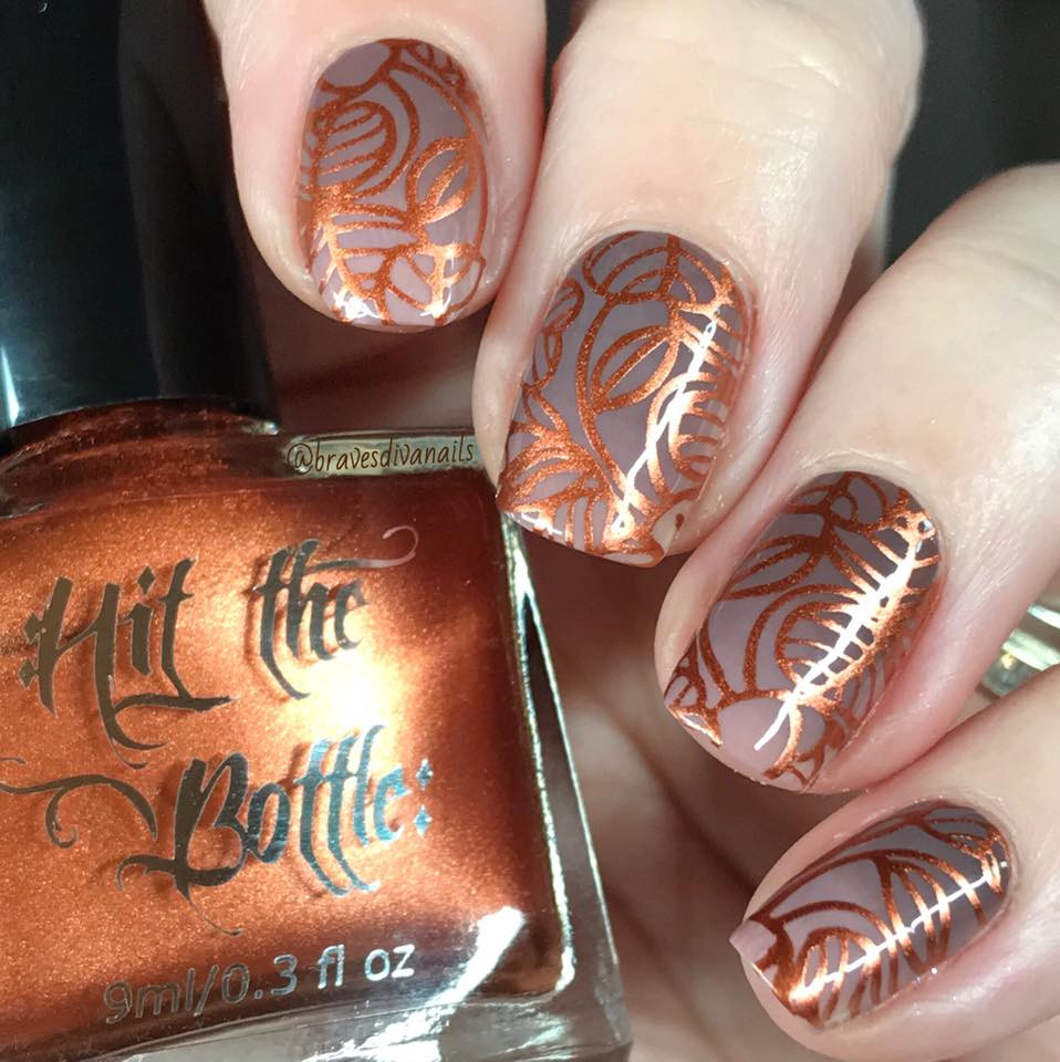 Hit the Bottle stamping polish Copper Haired Girl, in the USA at www.lanternandwren.com. Mani by @bravesdivanails.