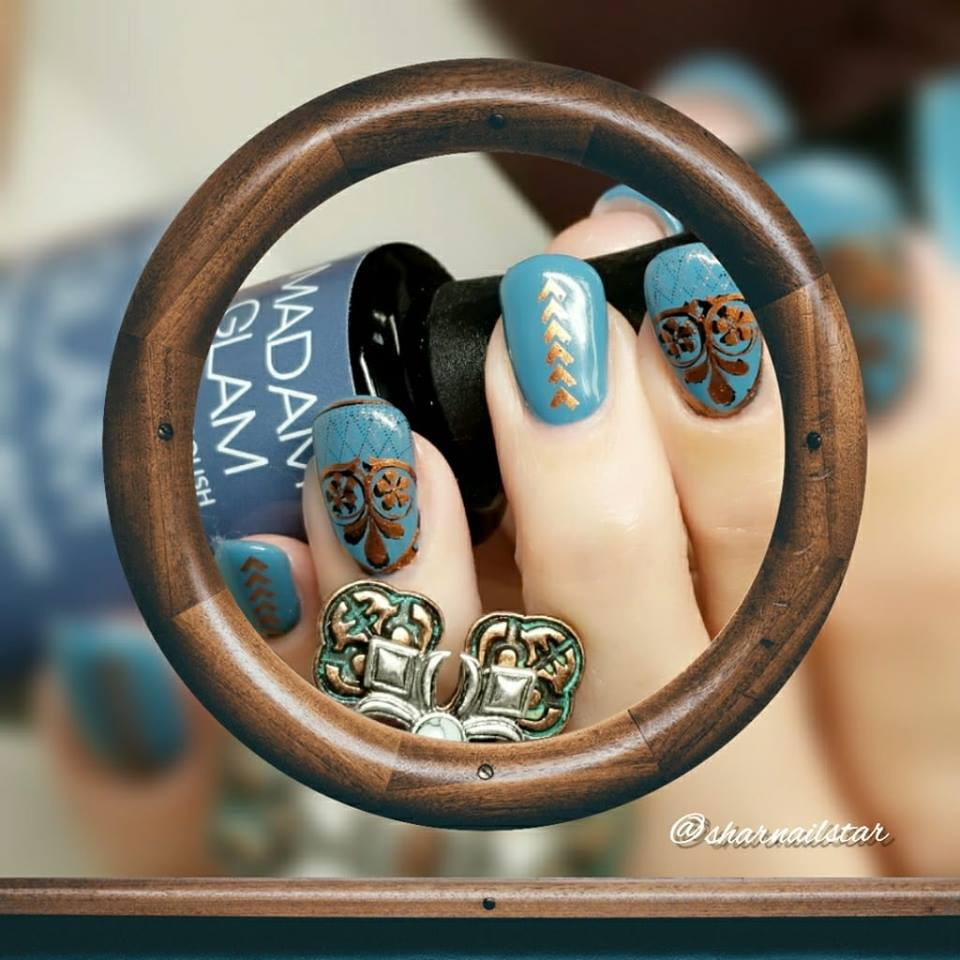 Hit the Bottle stamping polish Copper Haired Girl, in the USA at www.lanternandwren.com. Mani by @sharnailstar.