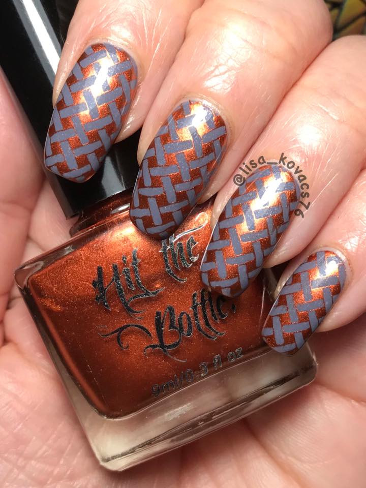 Hit the Bottle stamping polish Copper Haired Girl, in the USA at www.lanternandwren.com.