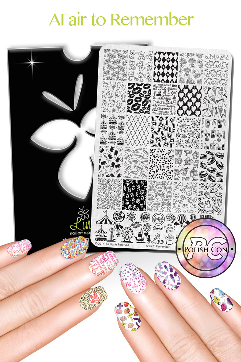 A Fair to Remember Polish Con nail stamping plate.  Free USA shipping at Lantern & Wren, www.lanternandwren.com.