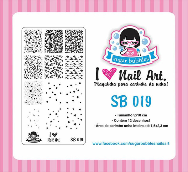 Sugar Bubbles SB019 nail stamping plate.  Available at www.lanternandwren.com.