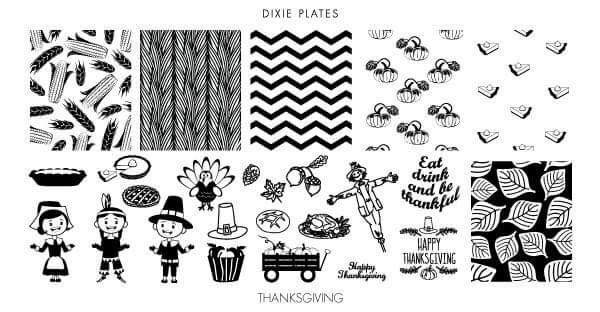 Dixie Plates Thanskgiving mini stamping plate. Available in the USA at www.lanternandwren.com.