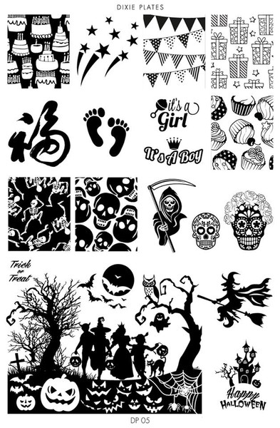 Dixie Plates Halloween nail stamping plate, DP05. Get yours in the USA at www.lanternandwren.com.