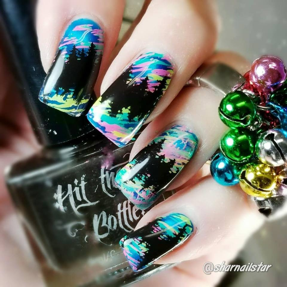 Seas the Day neon Hit the Bottle stamping polish. Get it in the USA at www.lanternandwren.com. Mani by @sharnailstar.