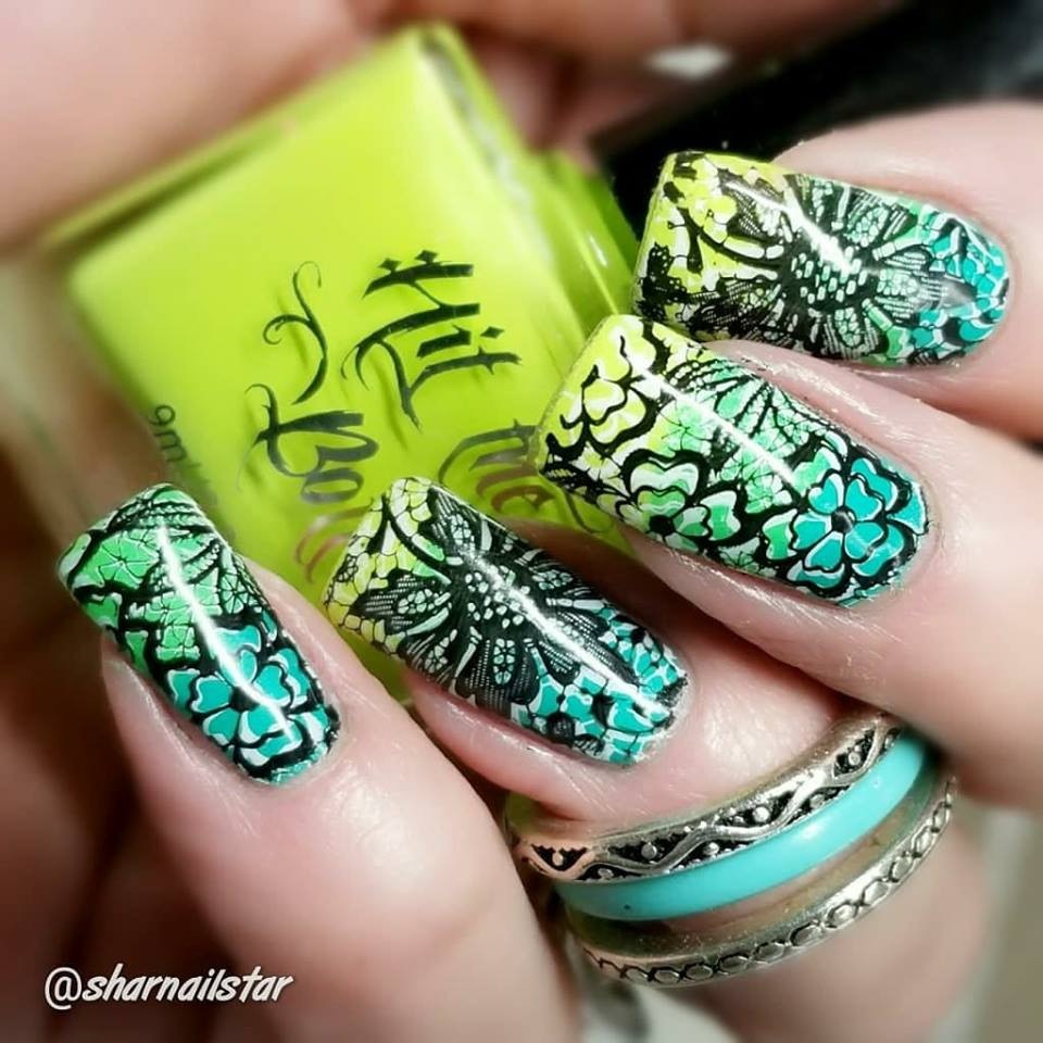 Shazam Yellow neon yellow Hit the Bottle stamping polish. Get it in the USA at www.lanternandwren.com. Mani by @sharnailstar.