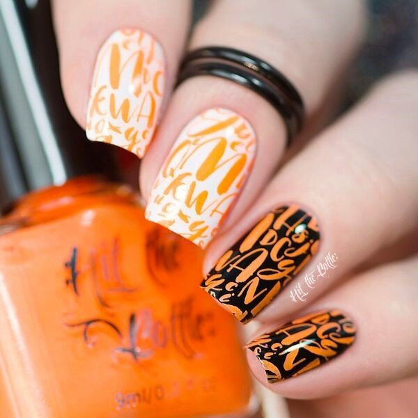Orange You Excited neon orange Hit the Bottle stamping polish. Get it in the USA at www.lanternandwren.com.