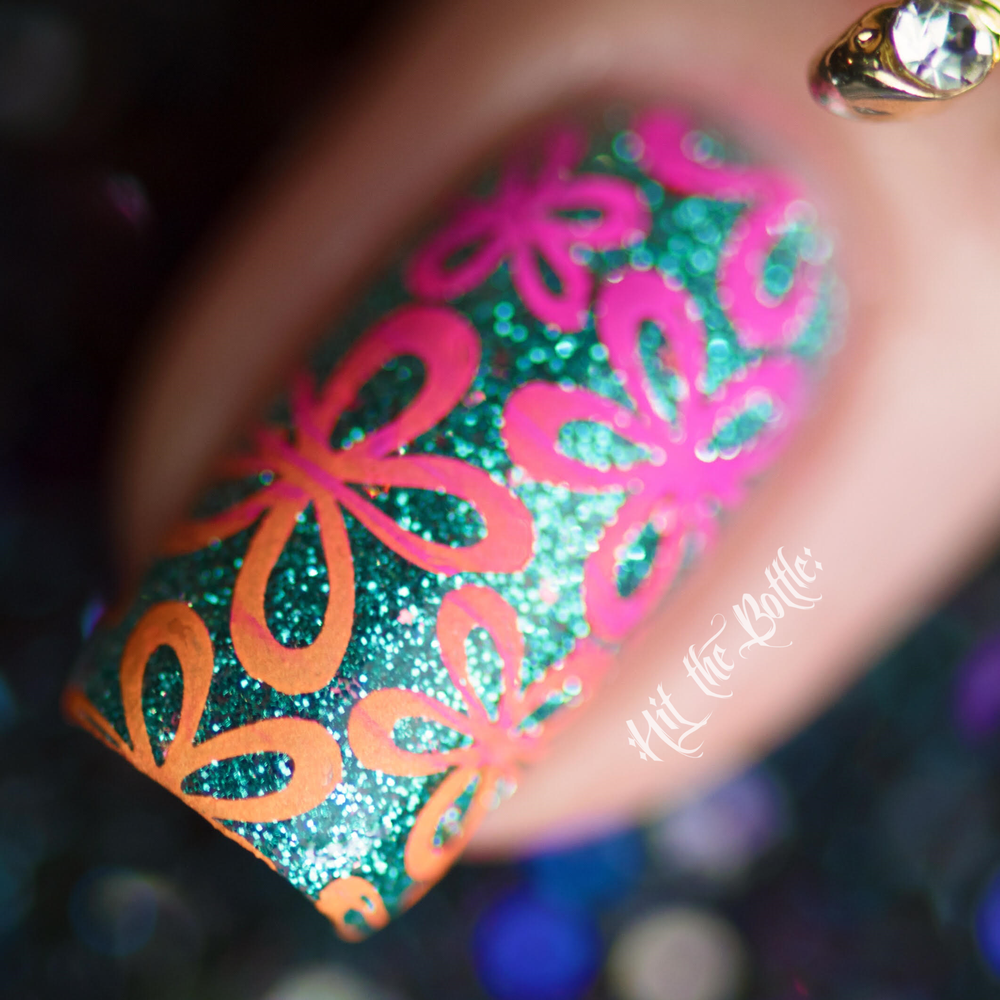 I Pink, Therefore I Am neon pink Hit the Bottle stamping polish. Get it in the USA at www.lanternandwren.com.