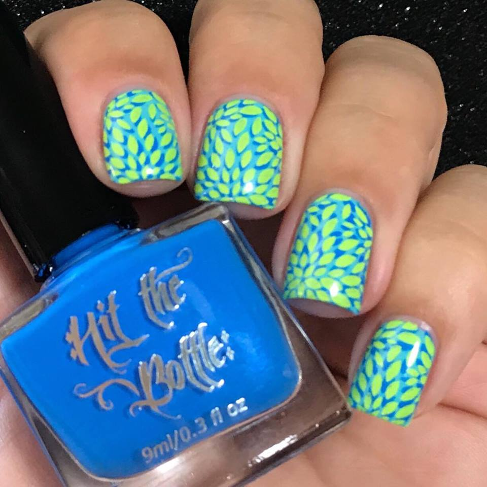 Blutonium neon blue Hit the Bottle stamping polish. Get it in the USA at www.lanternandwren.com.