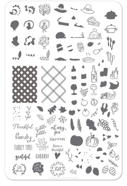 Clear Jelly Stamper Thanksgiving nail stamping plate, available in the USA at www.lanternandwren.com.