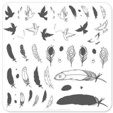Clear Jelly Stamper Birds of a Feather mini nail stamping plate, available in the USA at www.lanternandwren.com.