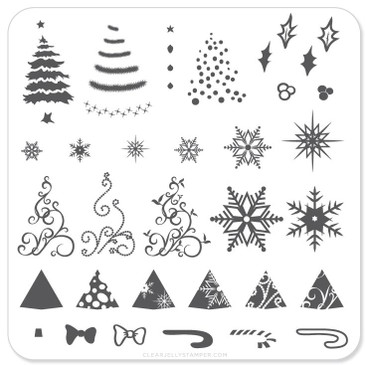 Christmas Tree mini nail stamping plate by Clear Jelly Stamper, available on www.lanternandwren.com.