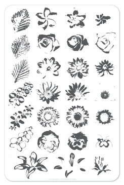Clear Jelly Stamper Full on Floral nail stamping plate, available in the USA at www.lanternandwren.com.