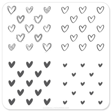 Super Cute Hearts nail stamping plate by Clear Jelly Stamper, available on www.lanternandwren.com.