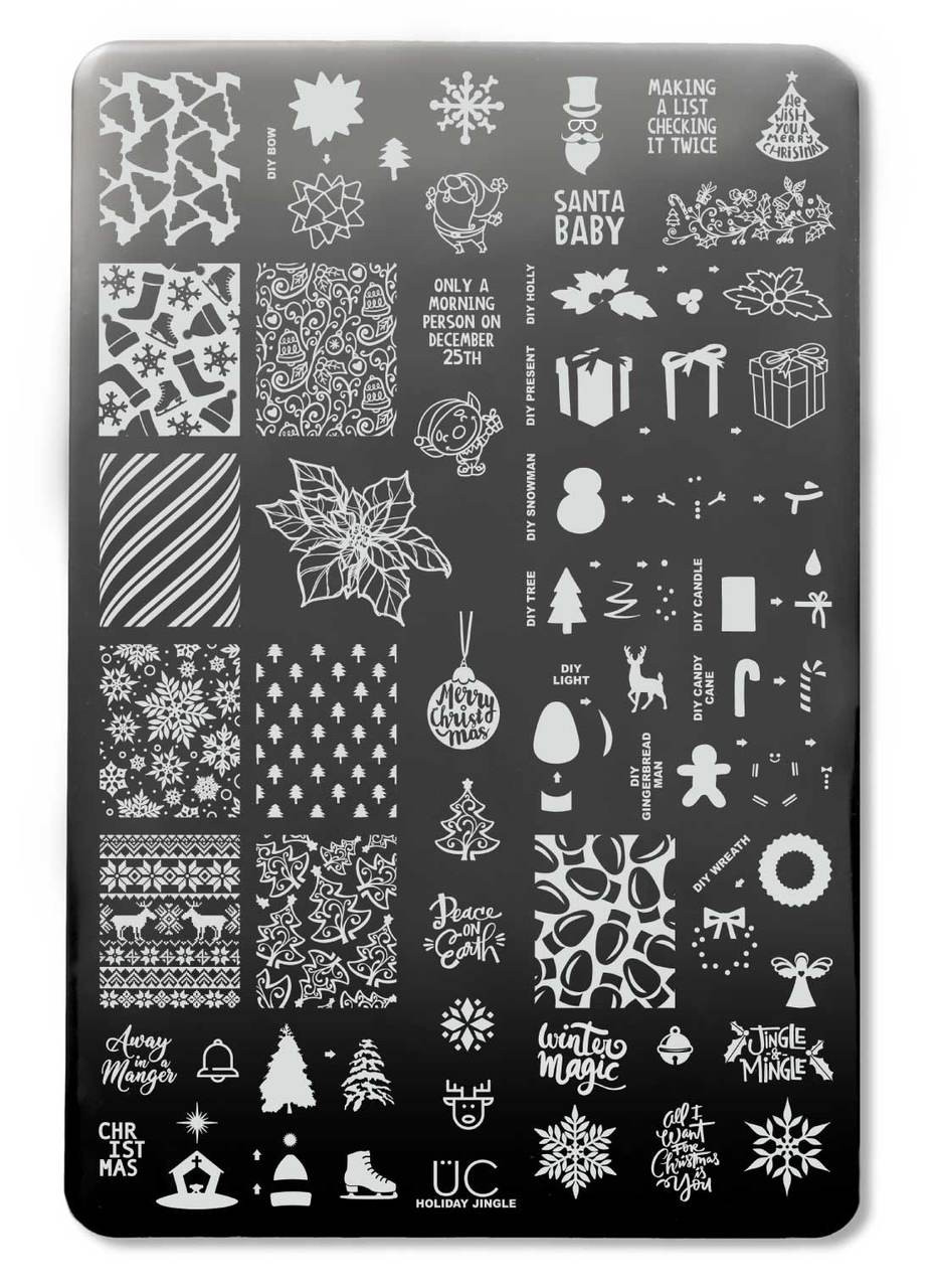 Hoilday Jingle Christmas Stamping Plate For Holiday Nail Art