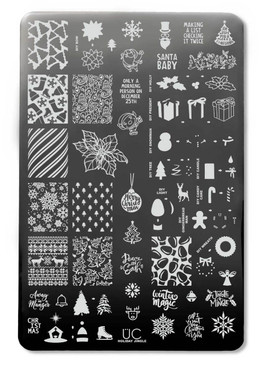 Holiday Jingle nail art stamping plate by Uber Chic. Available at www.lanternandwren.com.