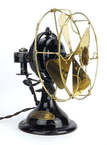 "1917 8"" Menominee Oscillator Desk Fan Brass Blade and Guard"