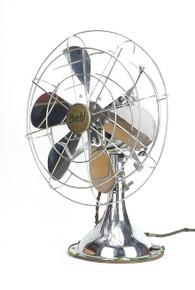 "12"" 6 Blade All Chrome Diehl Oscillating Desk Fan"