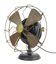 "Original 1900 12"" Yoke Mounted Pancake Desk Fan"