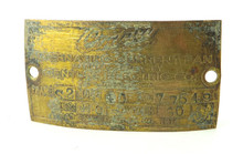 Original Brass Motor Tag for Century S2