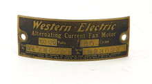 Original Brass Western Electric Motor Tag Serial No. 823623 Style W-178695B