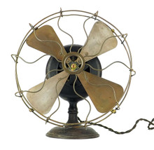 "Original 12"" 1899 GE Pancake Brass Fan RARE 125 Cycles"