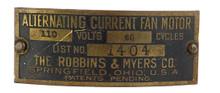"""Original 12"""" R&M 1404 Motor Tag w/Rivets"""