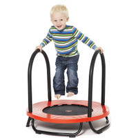 Child trampoline with safety handles.