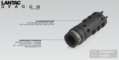 LANTAC Dragon Muzzle Brake for AR10 AR 308 Style Rifles DGN762B