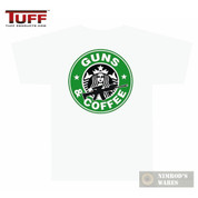 "TUFF 3001 ""GUNS AND COFFEE"" T-Shirt WHITE SMALL Front/Back Small/Large Logos"