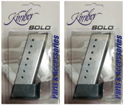 2-Pack Kimber SOLO 9mm 8-Round SS Magazines + Finger Extensions 1200038A