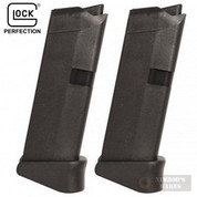 GLOCK 43 G43 9mm 6 Round MAGAZINE 2-PACK + Extensions 08844