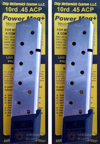 Chip McCormick 12150 Power Mag+ PLUS 1911 .45ACP 10 Round Magazine 2-PACK