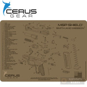 "Cerus S&W M&P SHIELD Schematic Bench MAT 12"" x 17"" HMMPSHLDSCHCOY"