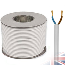 100m White 2182Y 2 Core 0.75mm 6 Amp PCV Round Flexible Electrical Cable Wire