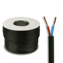 50m Reel Black 3182Y 1.5mm 2 Core Round PVC Flexible Cable Wire