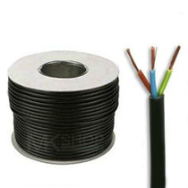 100m Reel Black 3183Y 0.75mm 3 Core Round PVC Flexible Cable Wire