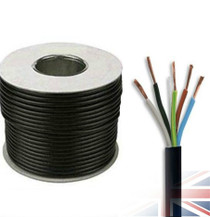 50m Reel Black 3185Y 1.5mm 5 Core Round PVC Flexible Cable Wire