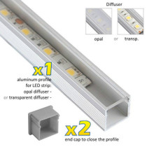 1 Metre Aluminium Extrusion Profile Line Surface Mounted for LED Strip Lights