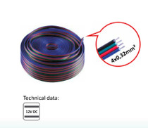 10 Metres 4 Wire Lighting Extension Cable for 12V LED RGB Strip Light