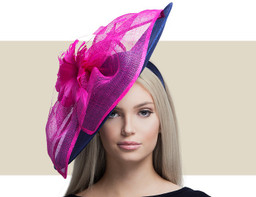 LINDSEY - Navy Blue and Hot Pink