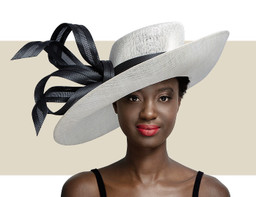 UPTURN HAT WITH BUNTAL BOW - Ivory and Black