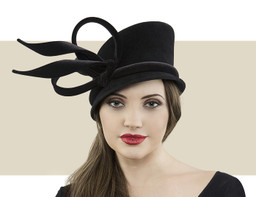 Cloche black winter hat with velvet band