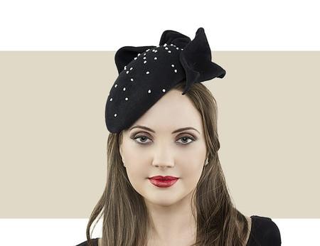 Jane Taylor London Jessica black cocktail hat for winter