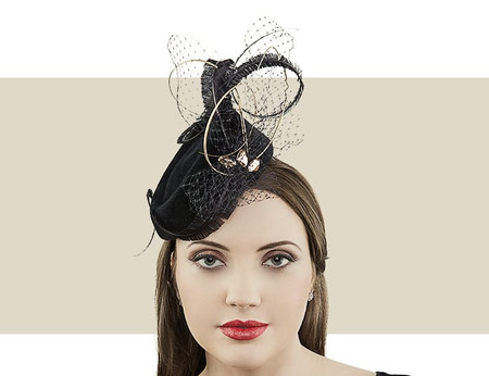 Jane Taylor London Leticia black and gold winter pillbox hat
