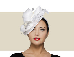RHINESTONE FASCINATOR HAT - White