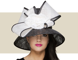 TALL CROWN HAT - Black with White