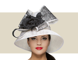 TALL CROWN HAT - White with Black