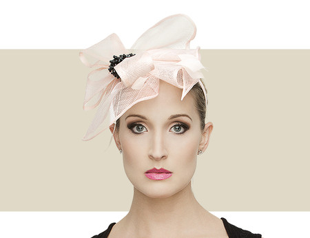 Light Pink   Black Tallula Fascinator Hat with Feather   Beads b5bb57afe7a