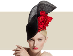 SCROLL HEADPIECE - Black with Black Lurex and Red Rosette